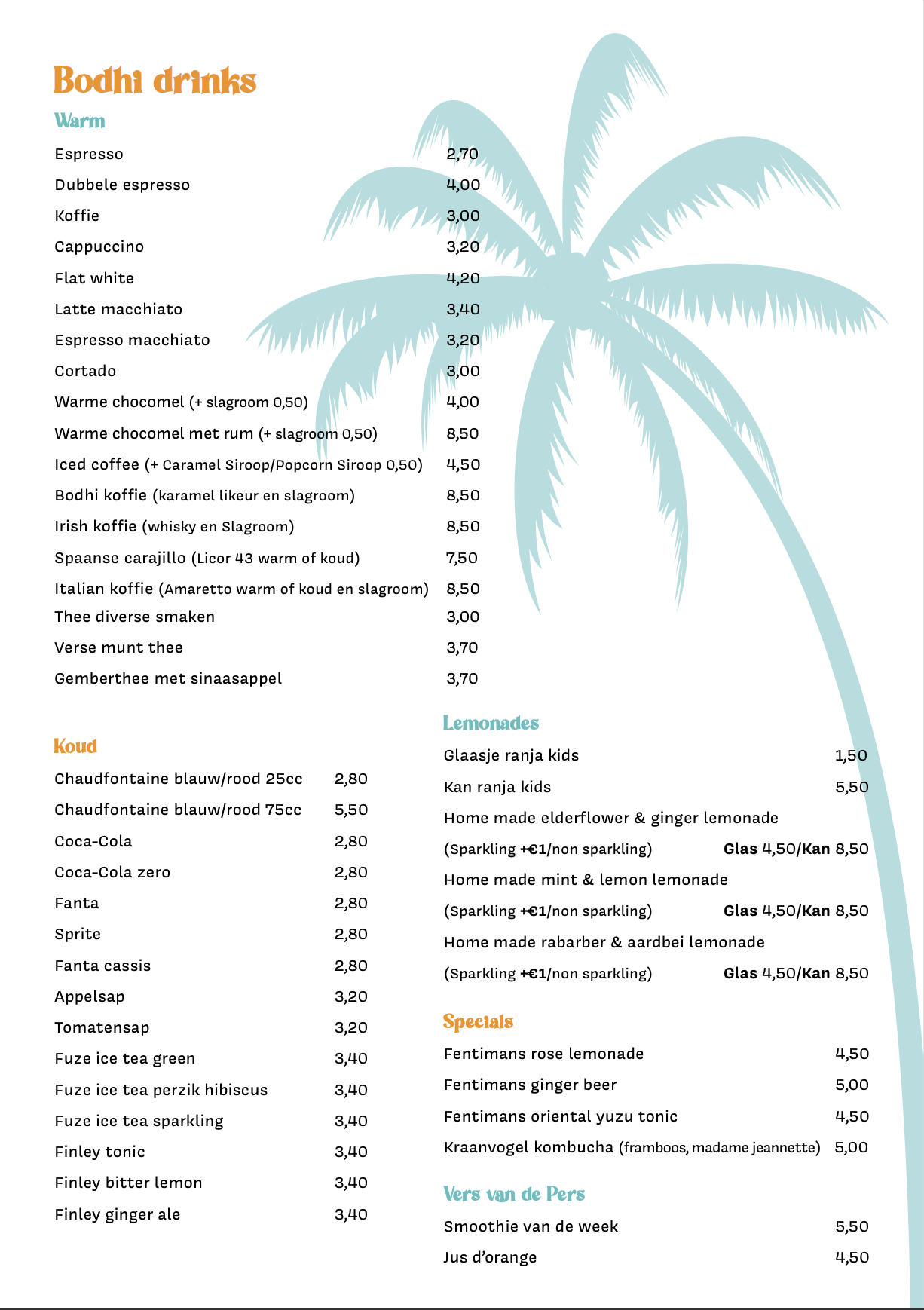 eten op het strand bij Bodhi Beach Zandvoort - drinks